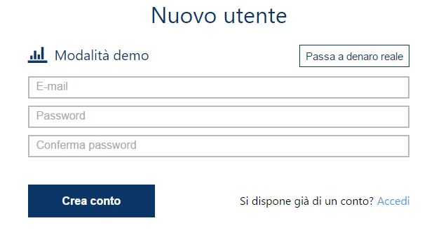 registrazione conto demo plus500
