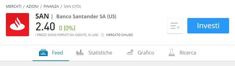 Comprare azioni Banco Santander etoro