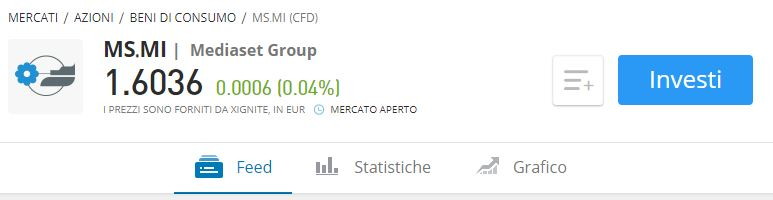 Comprare azioni Mediaset etoro