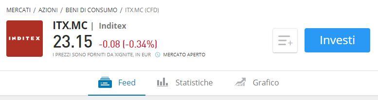 comprare azioni Inditex con etoro