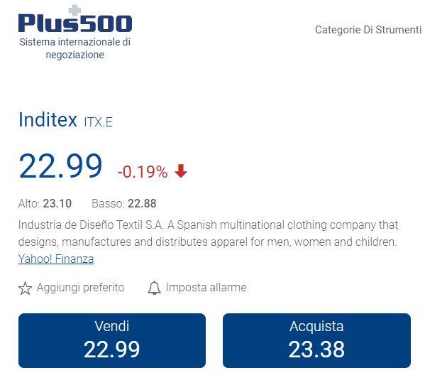 comprare azioni Inditex con plus500