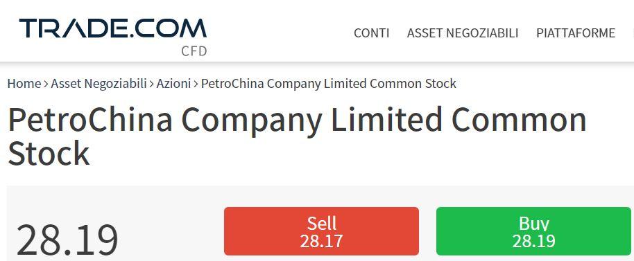 Comprare azioni PetroChina con trade-com