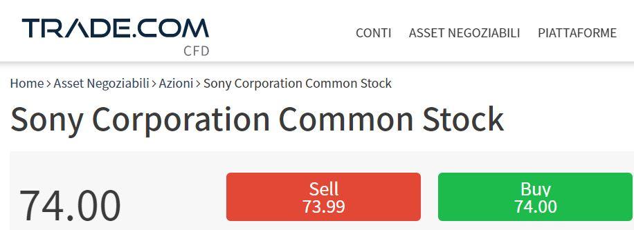 comprare azioni Sony con trade-com