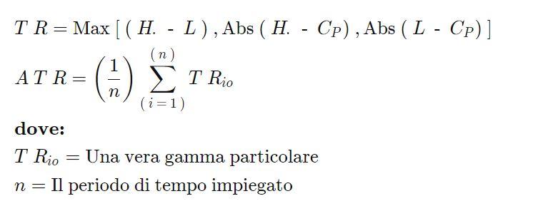 La formula dell'Indicatore ATR