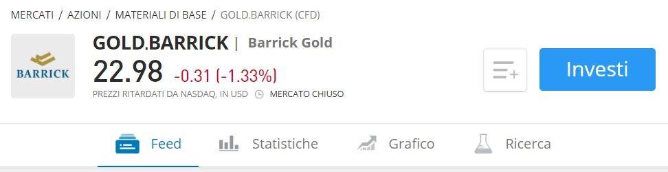 Comprare azioni Barrick Gold con etoro