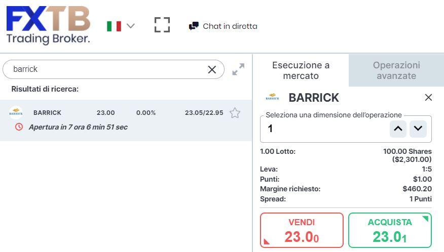 Comprare azioni Barrick Gold con forextb