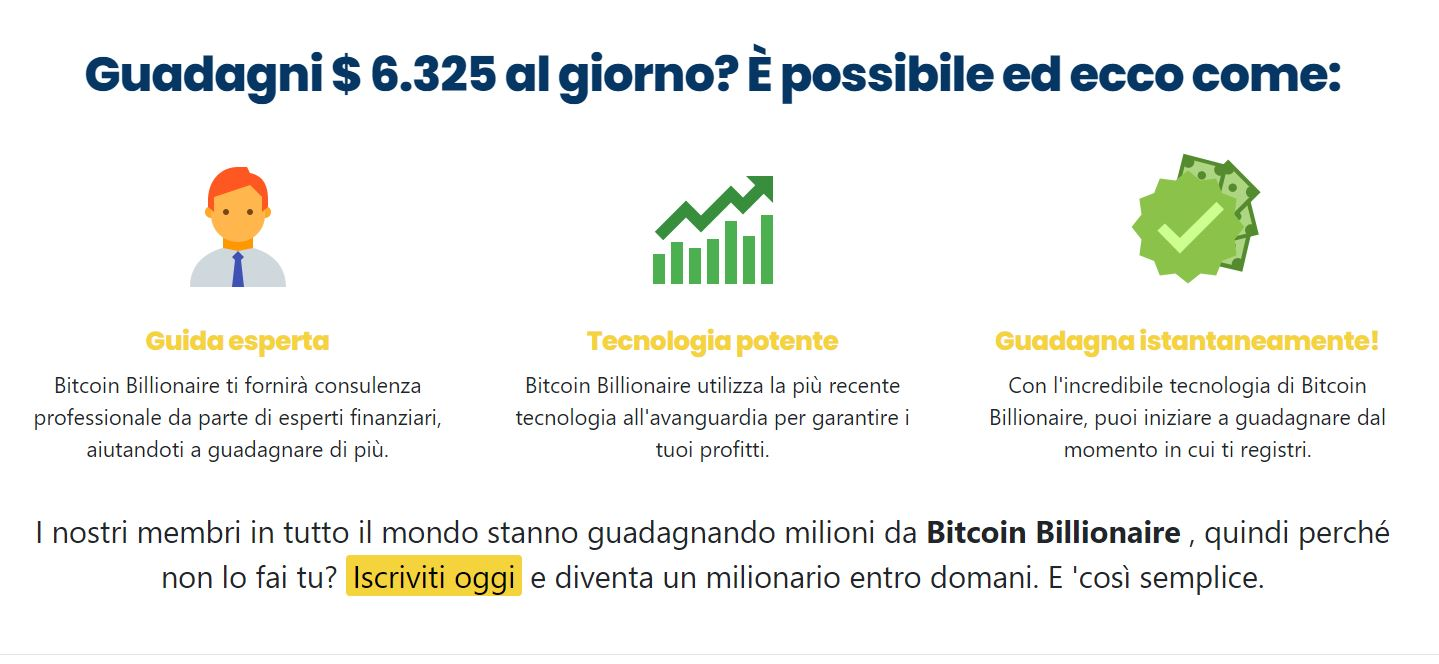 Bitcoin Billionaire è una truffa