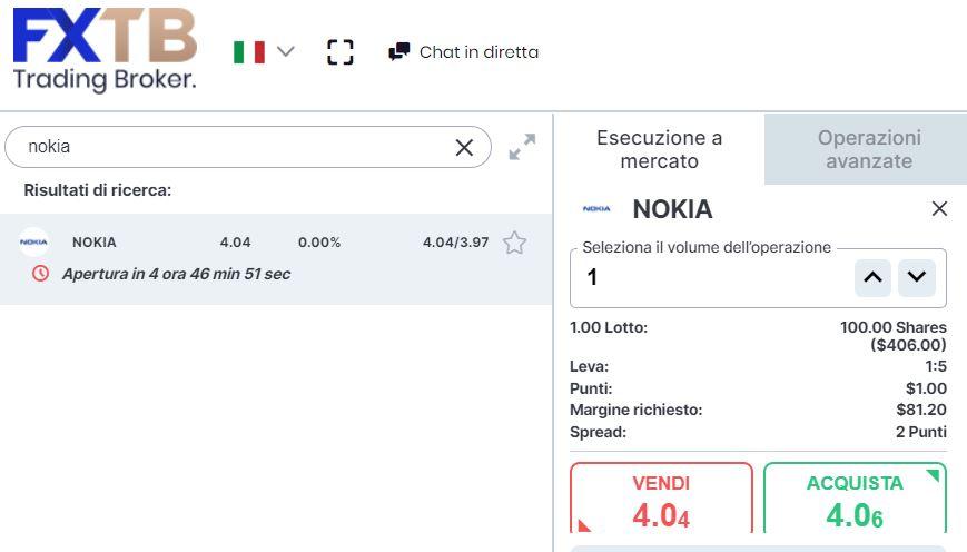 Comprare azioni Nokia con forextb