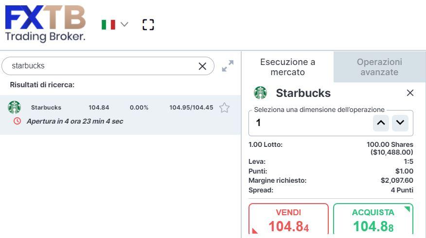 Comprare azioni Starbucks con forextb