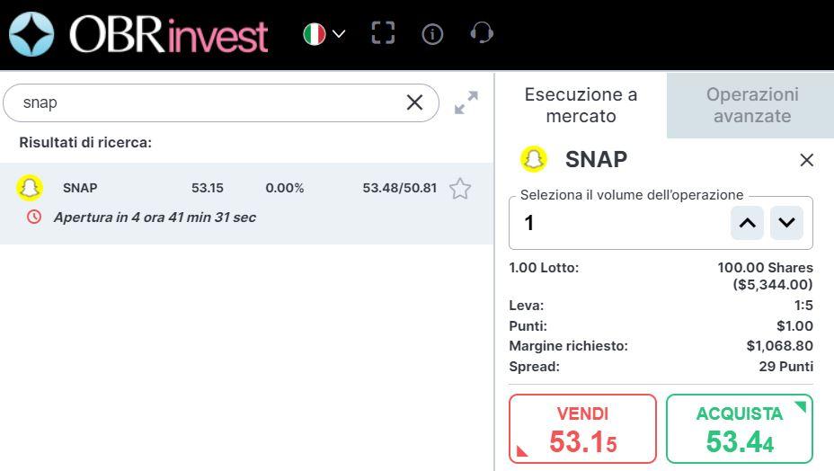 comprare azioni snapchat con obrinvest