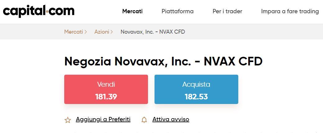 comprare azioni novavax con capital