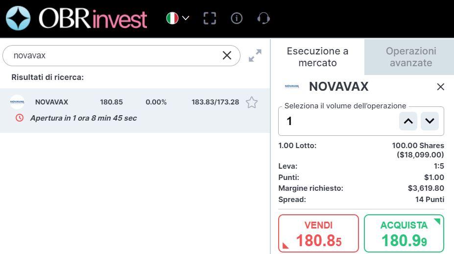 comprare azioni novavax con obrinvest