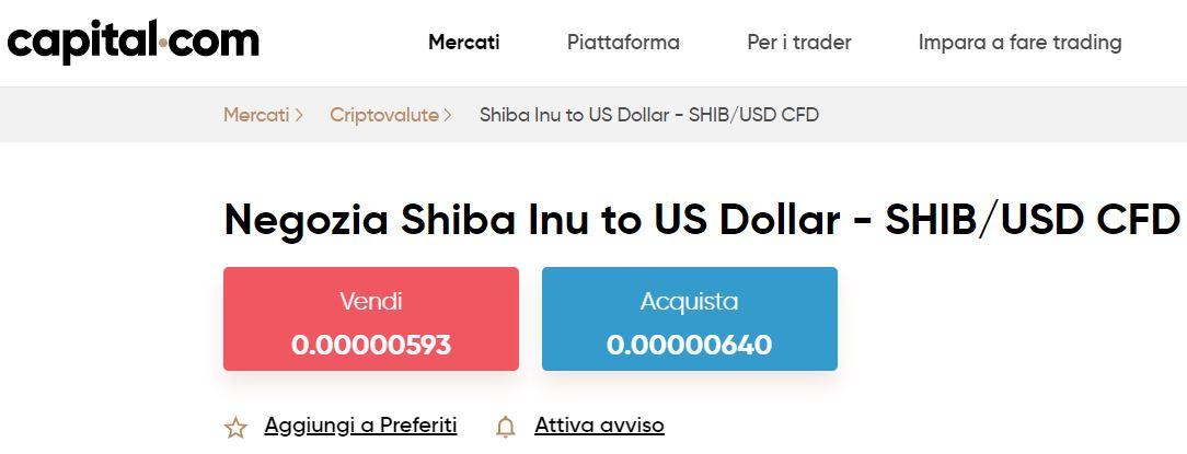 comprare shiba inu con capital