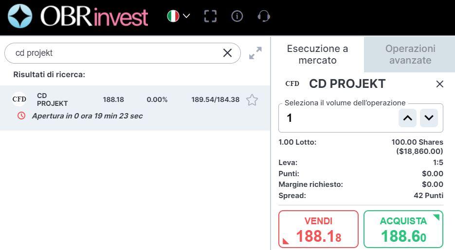 Comprare azioni CD Projekt Red con OBRinvest