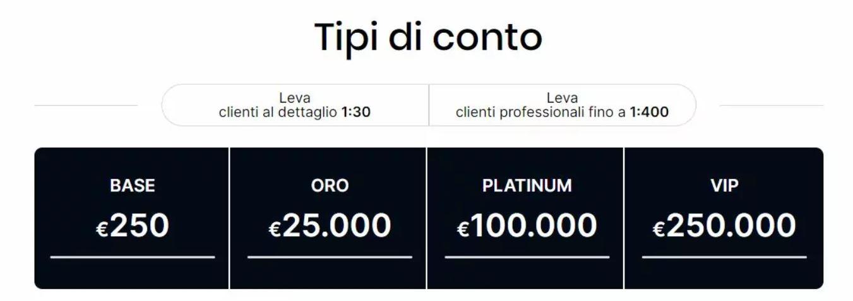 LiquidityX Tipologie di Conto